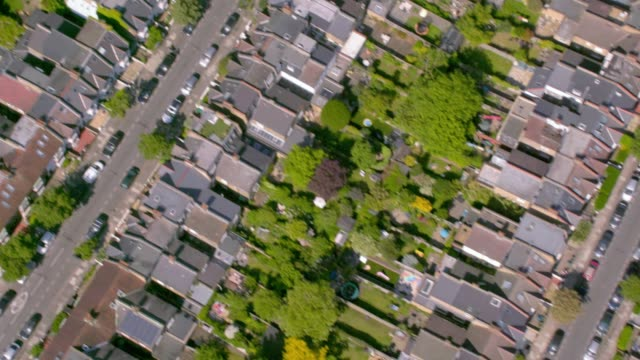Aerial View of Rows of Suburban Victorian Houses in London, UK. 4K