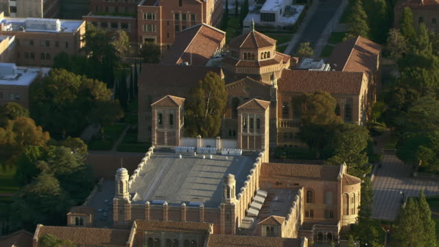 Aerial view of Royce Hall and Powell Library on the campus of UCLA in Los Angeles.