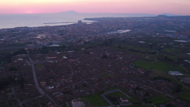 aerial view of ruins of pompei, italy - archeologia video stock e b–roll