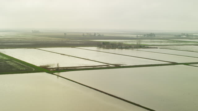 Aerial view of rural agriculture farmland Northern California