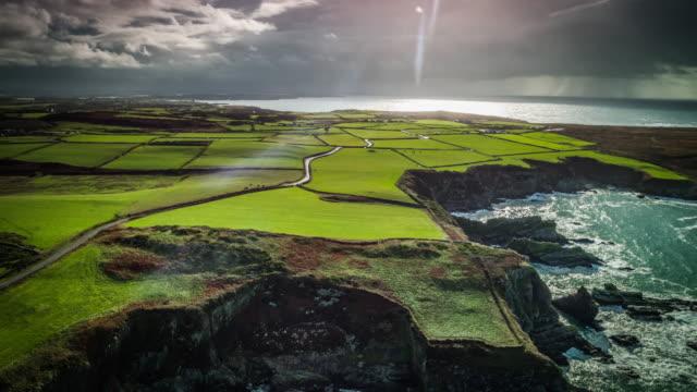 aerial view of rural landscape in the united kingdom - wales - wales stock videos & royalty-free footage