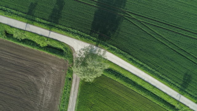 vídeos de stock e filmes b-roll de aerial view of rural road with trees and agricultural fields at road junction. franconia, bavaria, germany, europe. - road junction