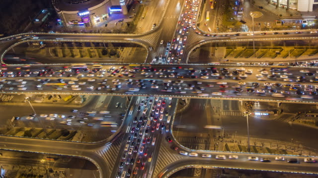 T/L WS HA TU Aerial View of Rush Hour Traffic / Beijing, China
