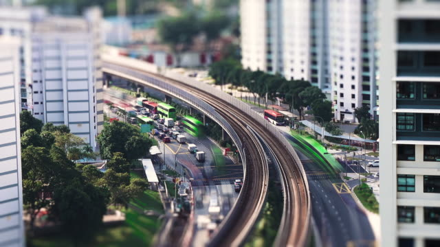 Aerial View of Rush Hour Traffic in Singapore
