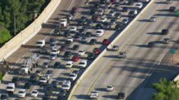 Aerial view of rush hour traffic on busy freeway
