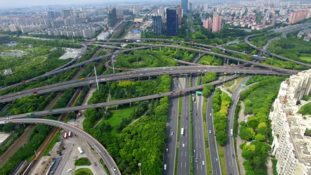 t/l aerial view of rush hour traffic on multiple highways and flyovers/ shanghai, china - rail transportation stock videos & royalty-free footage