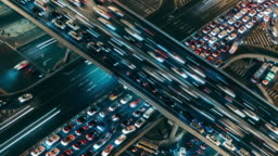 T/L CU HA PAN Aerial View of Rush Hour Traffic on Multiple Highways at Night / Beijing, China