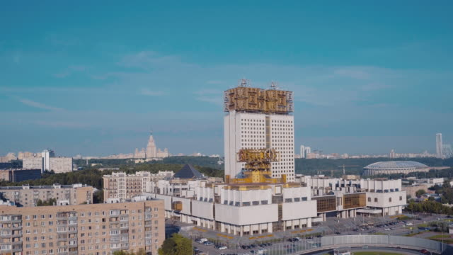 vidéos et rushes de aerial view of russian academy of sciences - city street