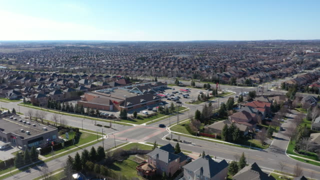 (2/3b)aerial view of rutherford road and islington ave., detached and duplex house at woodbridge in vaughan, ontario, canada - ontario canada stock videos & royalty-free footage