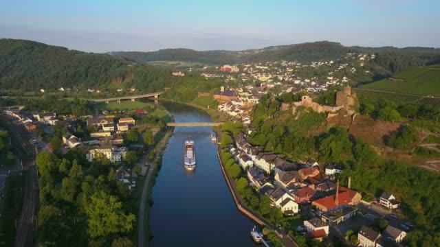 Aerial view of Saar River and castle ruin, Saarburg, Saar Valley, Rhineland-Palatinate, Germany, Europe