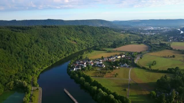Aerial view of Saar River near Kanzem-Hamm, Saar Valley, Rhineland-Palatinate, Germany, Europe