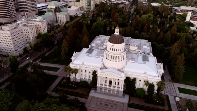 aerial view of sacramento state capitol building - capital cities stock videos & royalty-free footage