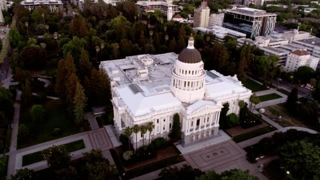 aerial view of sacramento state capitol building - local government building stock videos & royalty-free footage