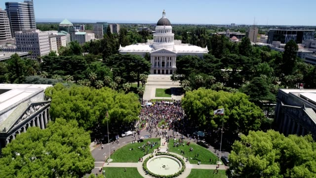 aerial view of sacramento state capitol protest - state capitol building stock videos & royalty-free footage