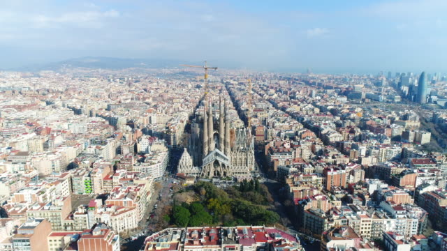aerial view of sagrada familia cathedral at catalunya - spain stock videos & royalty-free footage