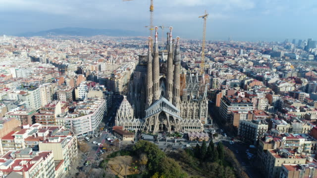 aerial view of sagrada familia cathedral at catalunya - sagrada familia stock videos and b-roll footage