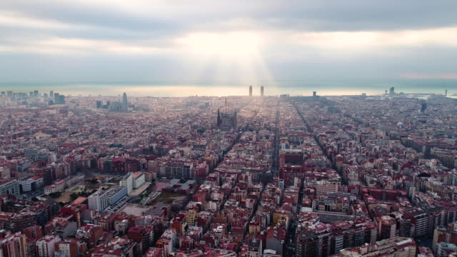 vidéos et rushes de aerial view of sagrada familia cathedral at catalunya - spain