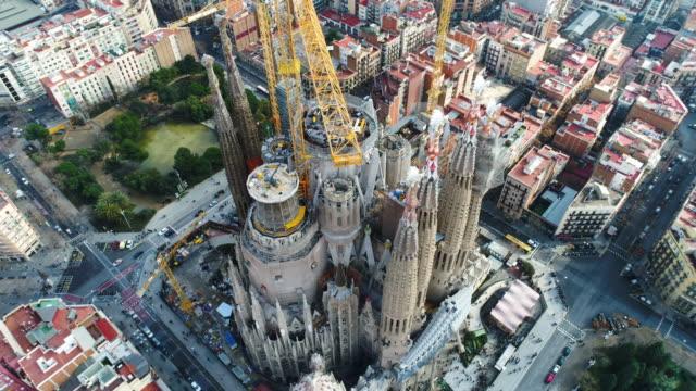 Aerial view of Sagrada Familia Cathedral at Catalunya