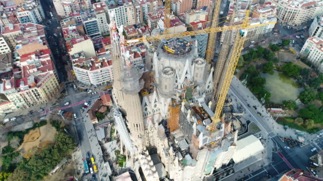 Aerial view of Sagrada Familia Cathedral at Catalunya