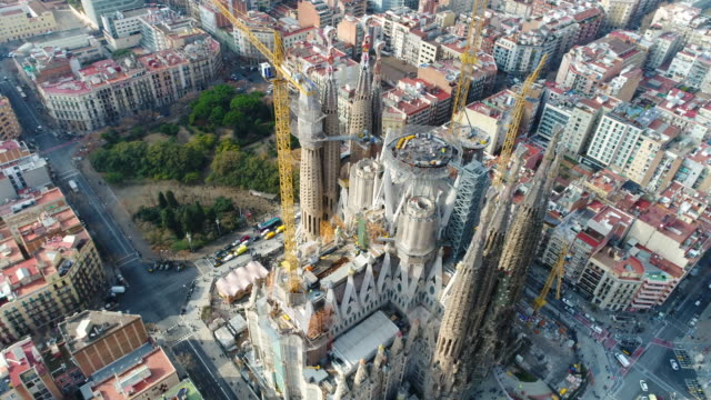 aerial view of sagrada familia cathedral at catalunya - sagrada familia stock-videos und b-roll-filmmaterial