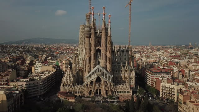 aerial view of sagrada familia - barcelona spain stock videos & royalty-free footage
