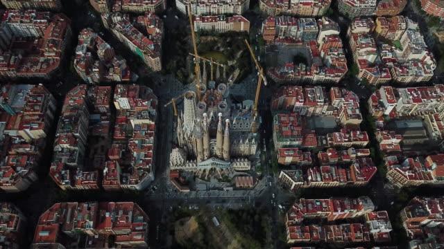 aerial view of sagrada familia - 2010 2019 stock videos & royalty-free footage