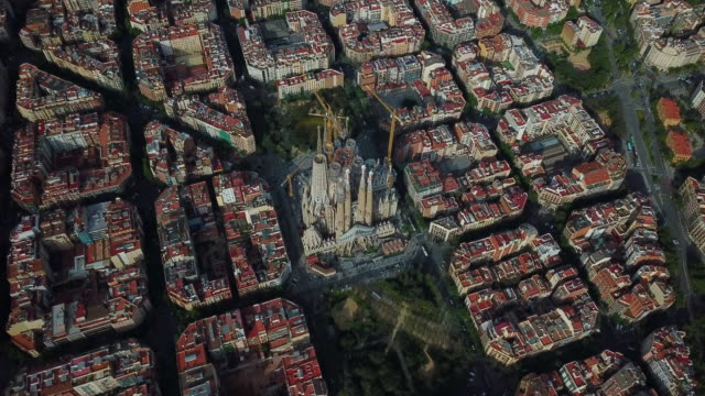 aerial view of sagrada familia - 1926 stock videos & royalty-free footage