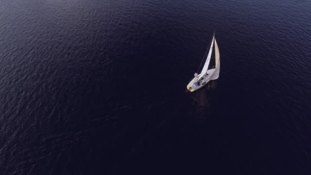 aerial view of sailboat and city skyline - small boat stock videos & royalty-free footage