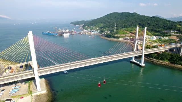 aerial view of sailing tourboat under geobukseondaegyo brige and overhead cable car on the sea - tourboat stock videos & royalty-free footage