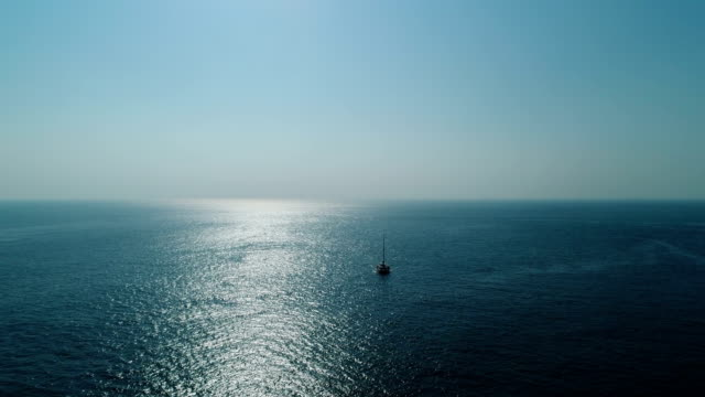 Aerial view of sailing yacht and seascape
