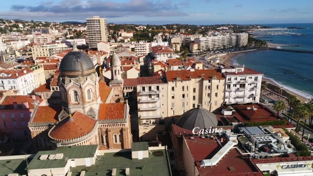 aerial view of saint raphael on french riviera - var stock videos & royalty-free footage