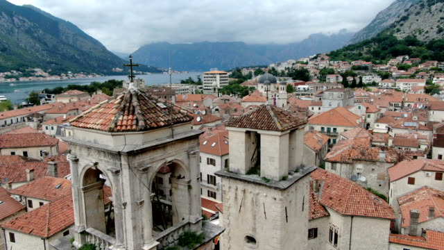 aerial view of saint tryphon's cathedral/kotor, montenegro - bildkomposition und technik stock-videos und b-roll-filmmaterial
