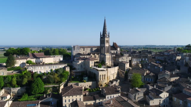 aerial view of saint-emilion, gironde - gironde stock videos and b-roll footage