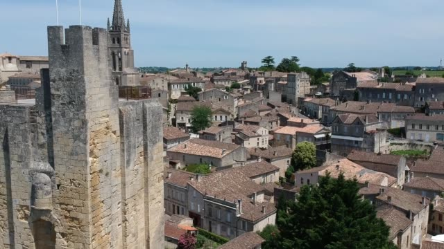 Aerial view of Saint-Émilion from Romanesque Roy Tower