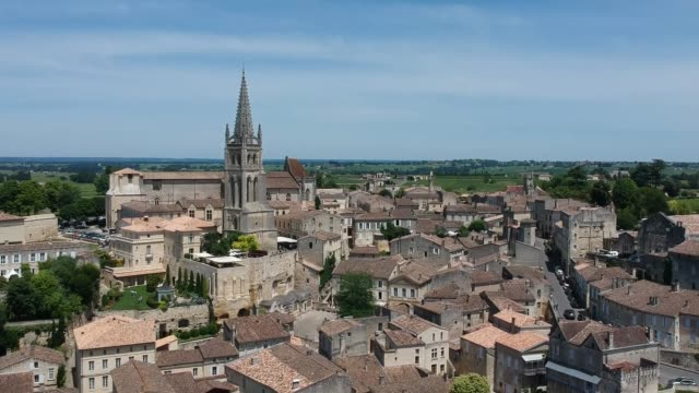 Aerial view of Saint-Émilion, Monolithic Church