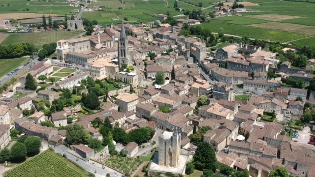 aerial view of saint-émilion - bell tower tower stock videos and b-roll footage