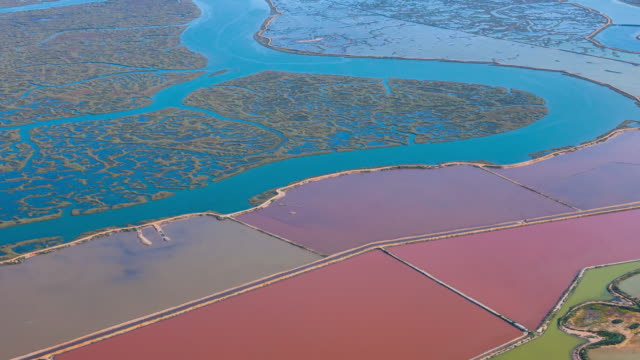vidéos et rushes de aerial view of salines in odiel - spain
