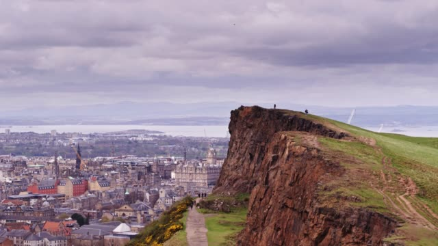 aerial view of salisbury crags and edinburgh - edinburgh scotland stock videos & royalty-free footage