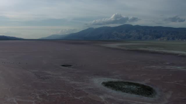aerial view of salt flat in owens lake with sierra nevadas in california. - lake bed stock videos & royalty-free footage
