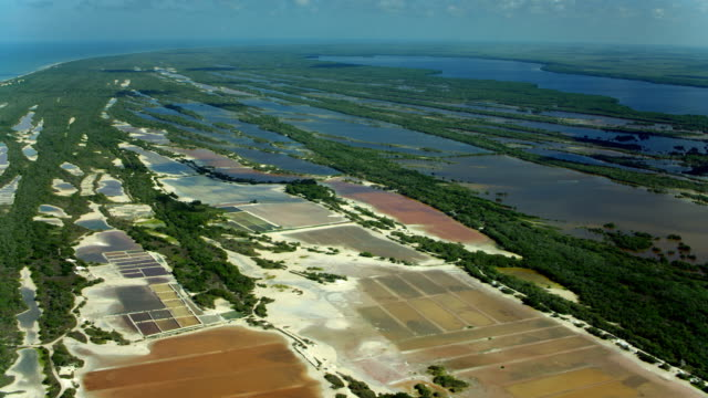 aerial view of salt lagoons in mexico - gulf of mexico stock videos and b-roll footage