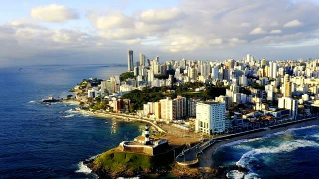 aerial view of salvador da bahia cityscape, bahia, brazil - america latina video stock e b–roll