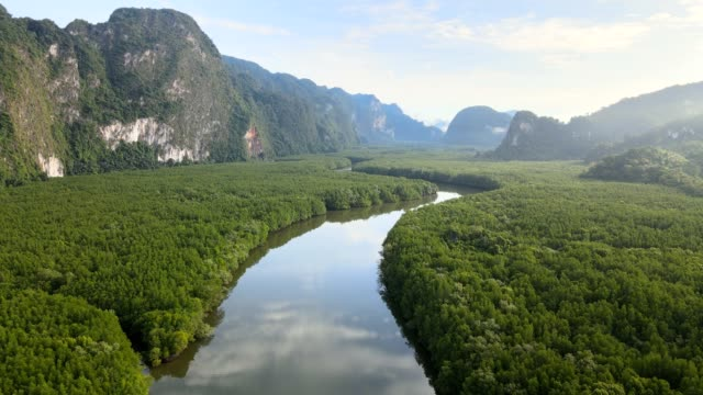 aerial view of samet nangshe in phang nga, thailand - tropical rainforest stock videos & royalty-free footage