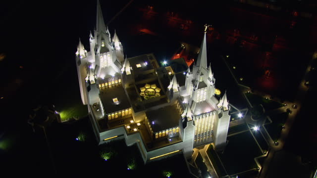 aerial view of san diego california temple in the la jolla neighborhood of san diego, california. - mormonism stock videos & royalty-free footage