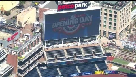 aerial view of san diego padres opening day on april 9, 2015. - day 1 stock videos & royalty-free footage