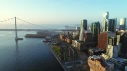 Aerial view of San Francisco city skyline and Embarcadero at sunrise