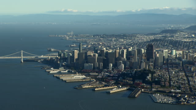 Aerial view of San Francisco with North Beach and Downtown districts.