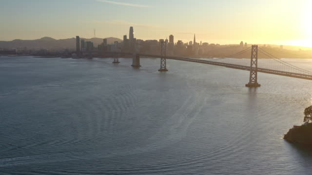 aerial view of san francisco-oakland bay bridge during covid-19 pandemic - san francisco bay stock videos & royalty-free footage