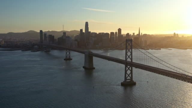 aerial view of san francisco-oakland bay bridge during covid-19 pandemic - san francisco bay stock videos & royalty-free footage