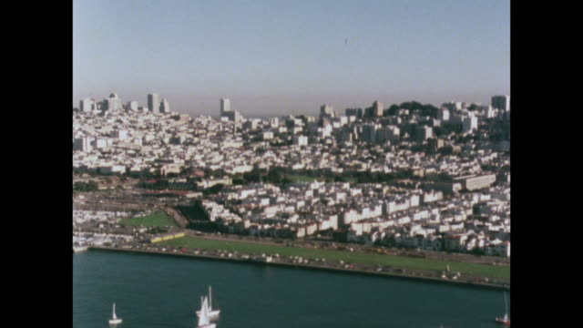 vídeos de stock e filmes b-roll de aerial view of san francisco's north shore; 1979 - 1970 1979