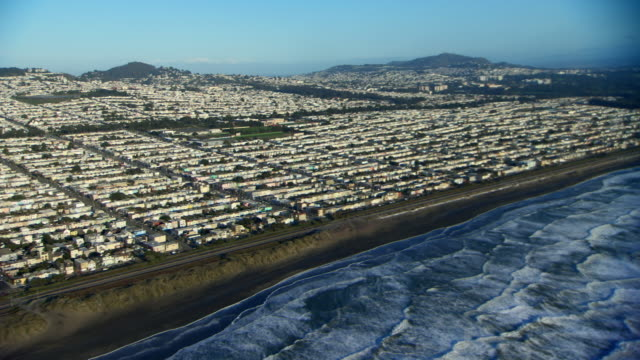 Aerial view of San Francisco's seaside Sunset District.